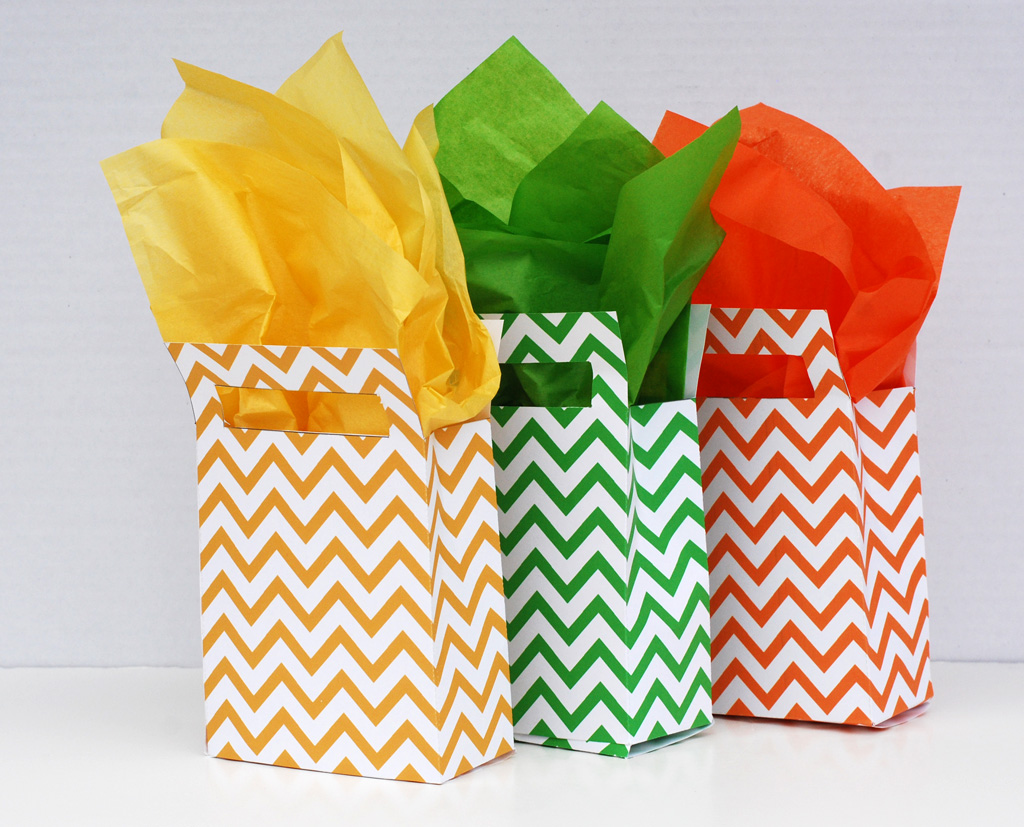 Square handled chevron gift bag printable for Craft paper gift bags