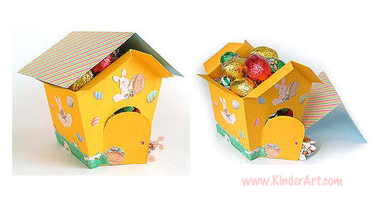 free paper box and bag templates easter egg house