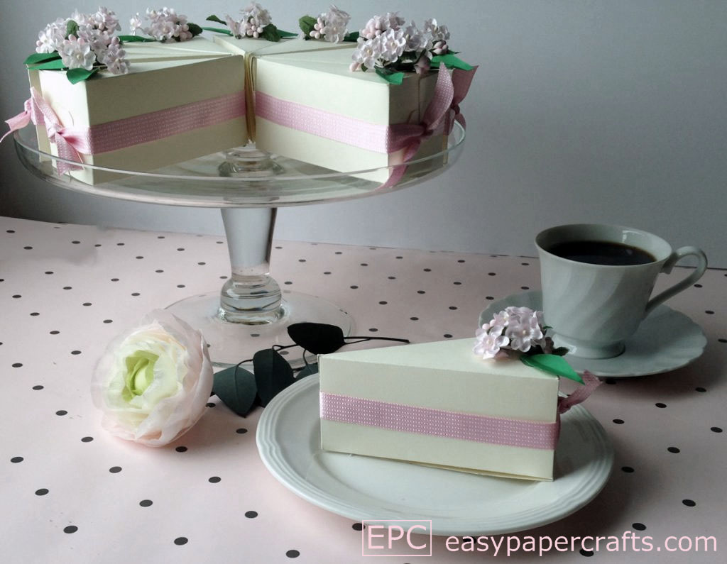 paper cake on a cake stand, cake favor boxes