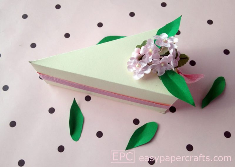 paper cake slice with floral topper