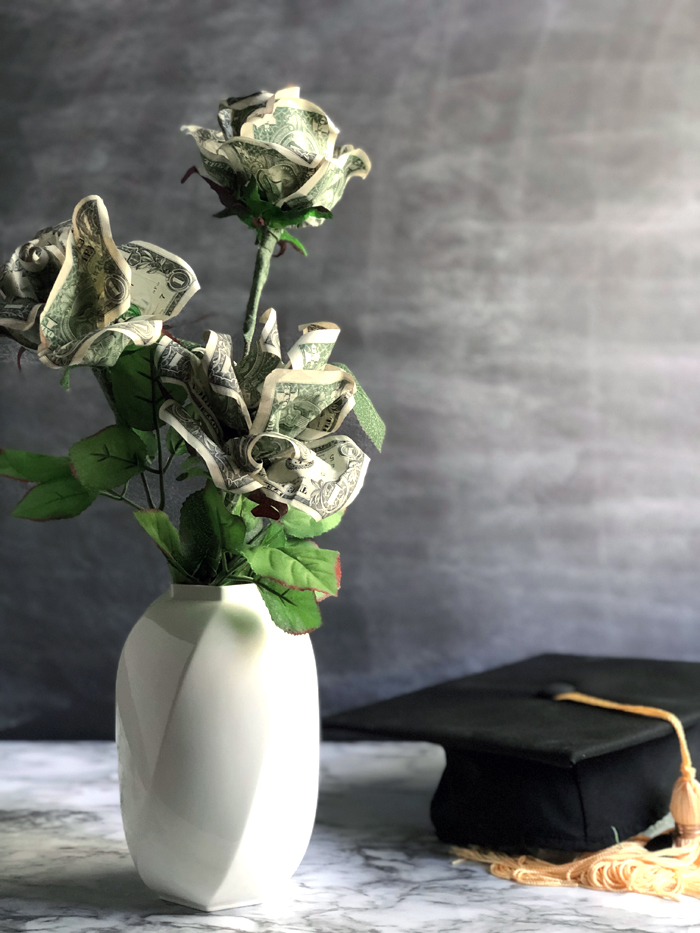 money rose flower in a vase with mortar board