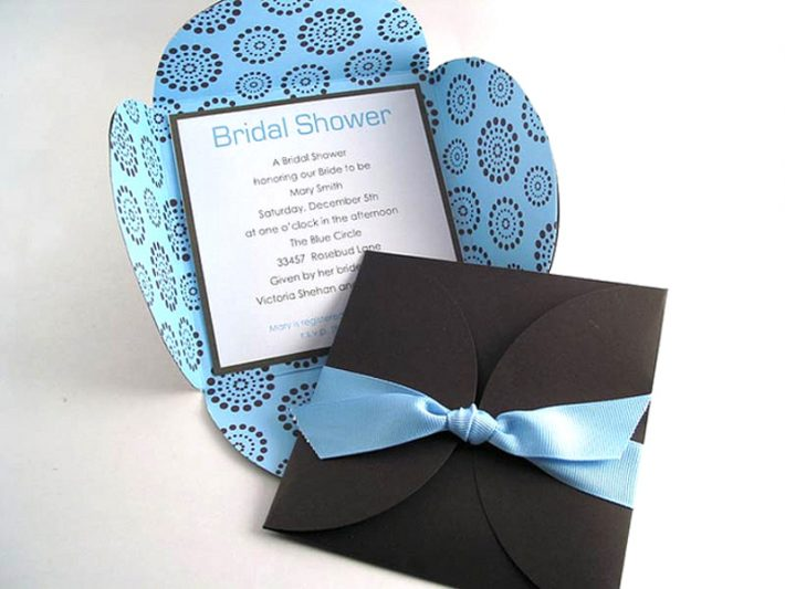 brown and blue petal pochette card
