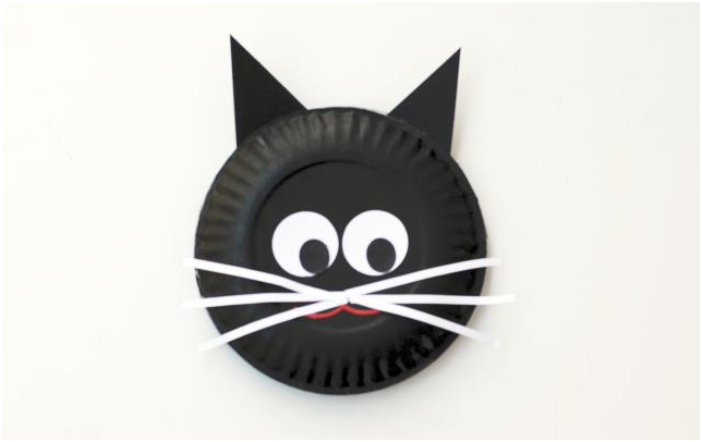 Halloween crafts paper plate cat head