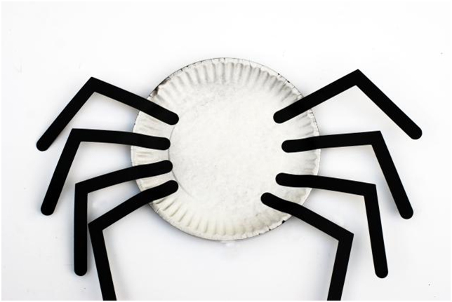 Halloween crafts back of paper plate spider