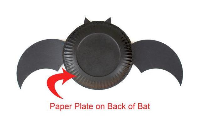 Halloween crafts black paper plate bat