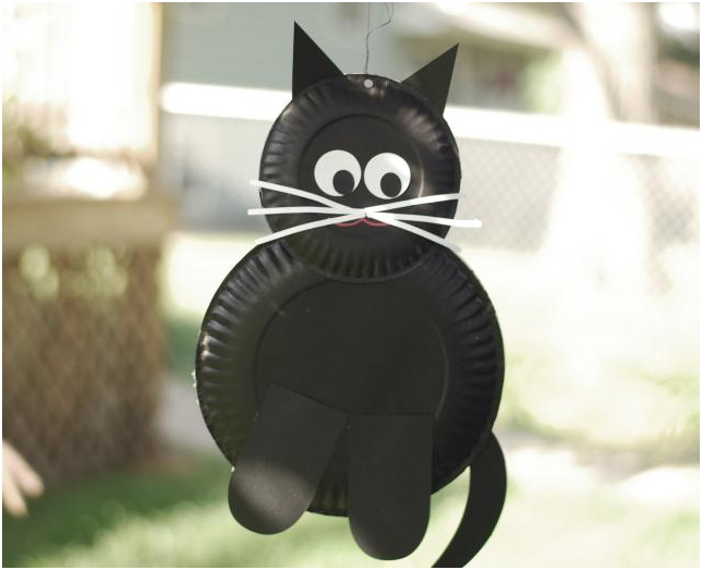Halloween crafts paper plate cat