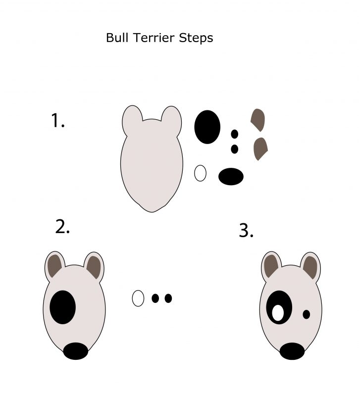 steps to building a paper bull terrier puppet