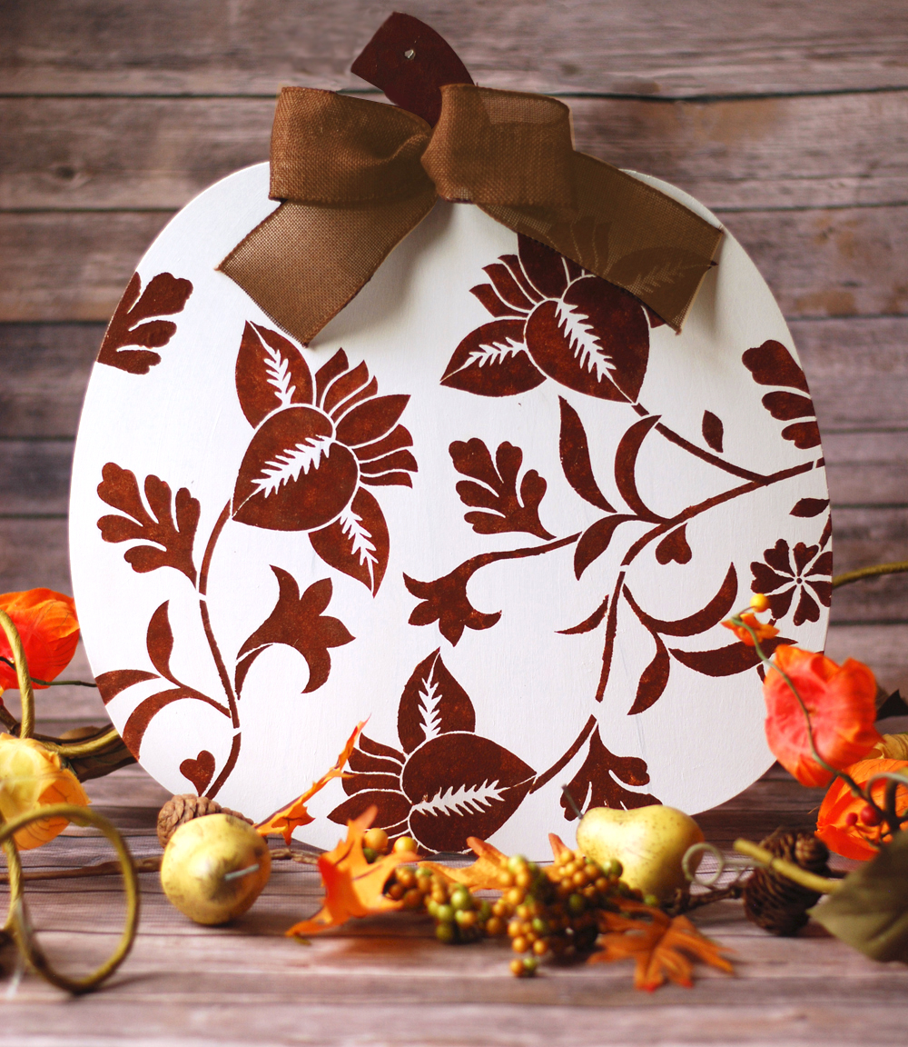 painted wooden pumpkin wall decor