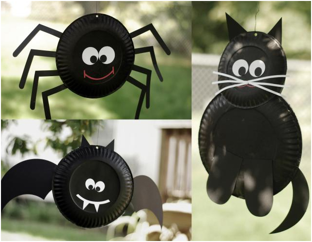 paper plate spider, cat and bat