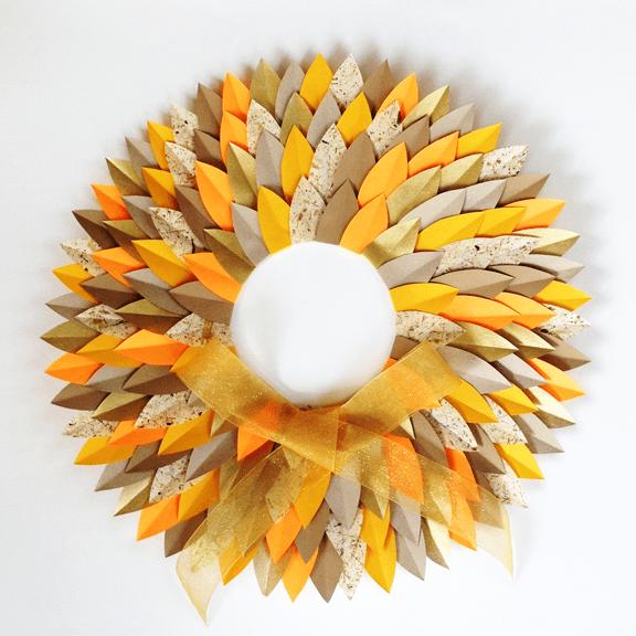 paper autumn leaf wreath
