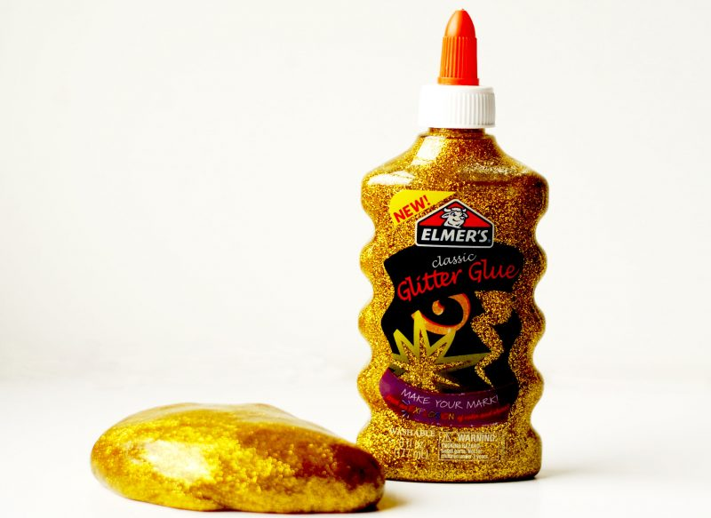 gold glitter glue bottle and slime