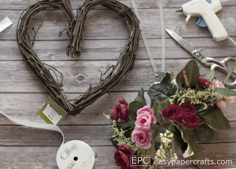 supplies needed to make a heart wreath DIY