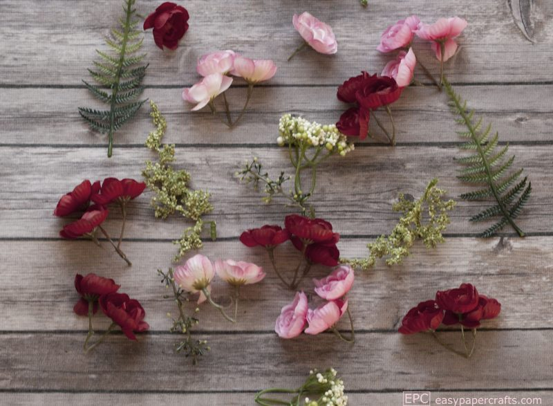 silk flowers on wood heart wreath DIY