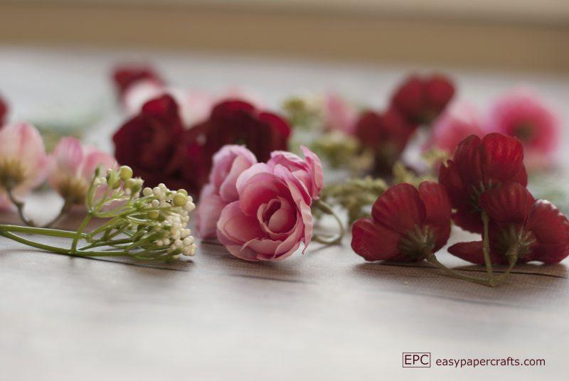 close up of silk flower heads heart wreath DIY