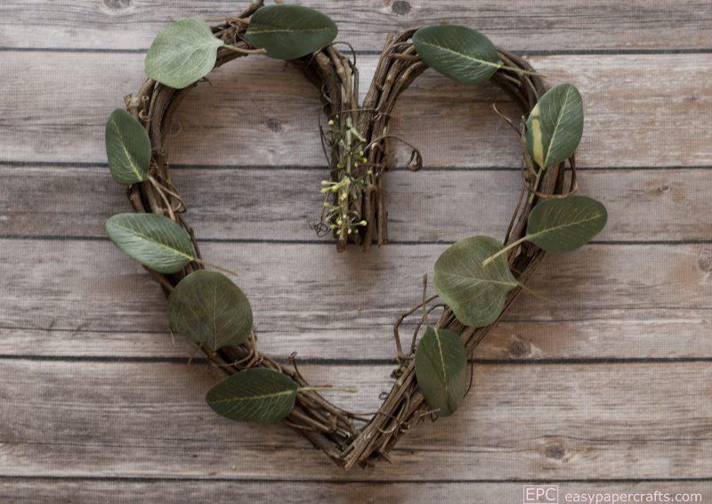 silk green leaves on heart wreath DIY