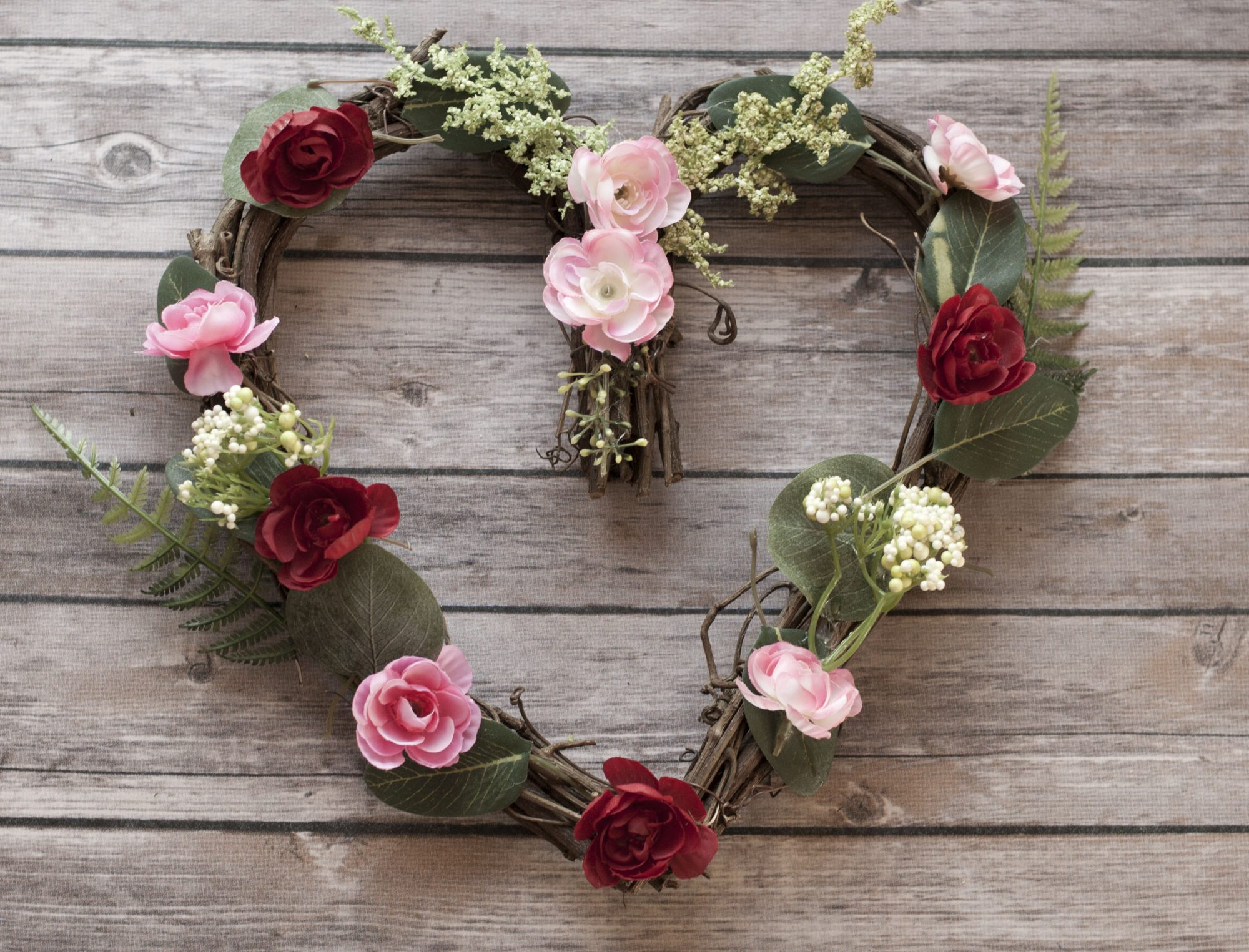 diy floral heart wreath