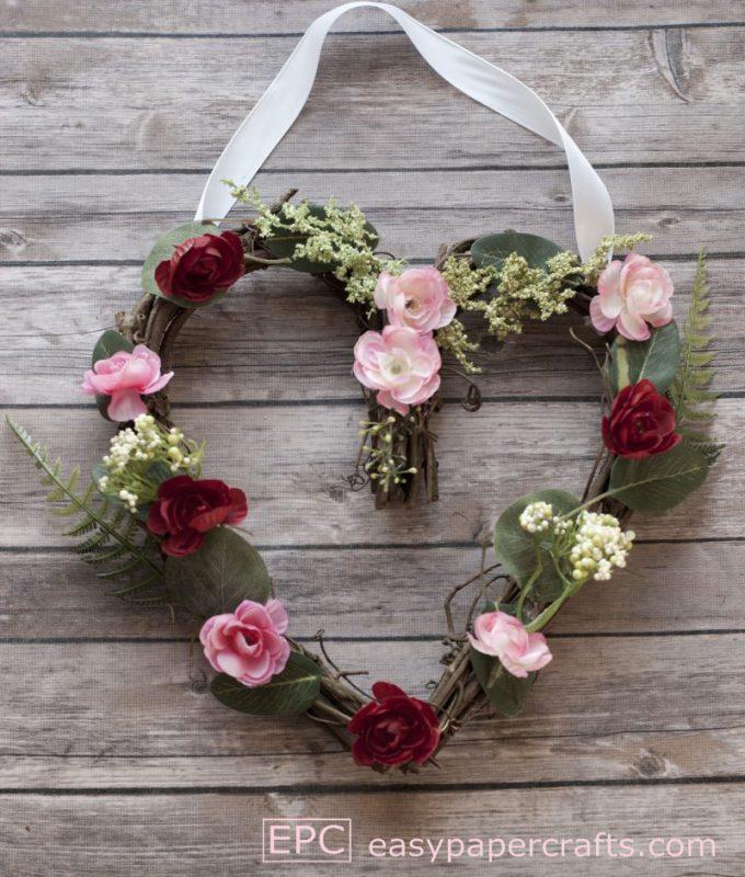 silk flower heart wreath DIY with ribbon hanger