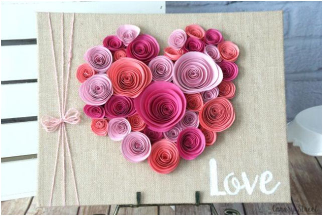 burlap board with paper heart