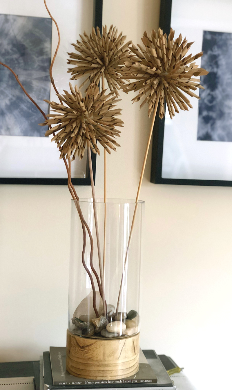spiky kraft paper flower arrangement