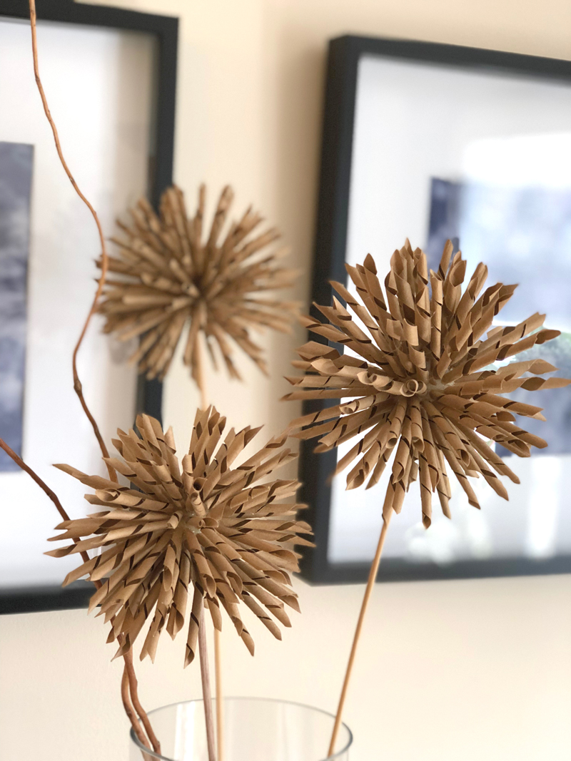 spiky kraft paper flower heads