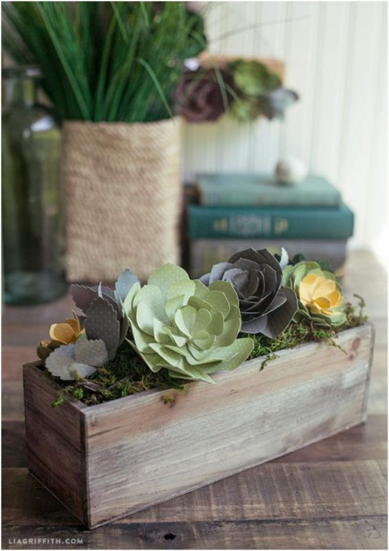 paper flower crafts paper succulents in a wooden box