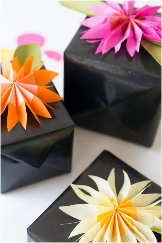tissue paper flower gift toppers