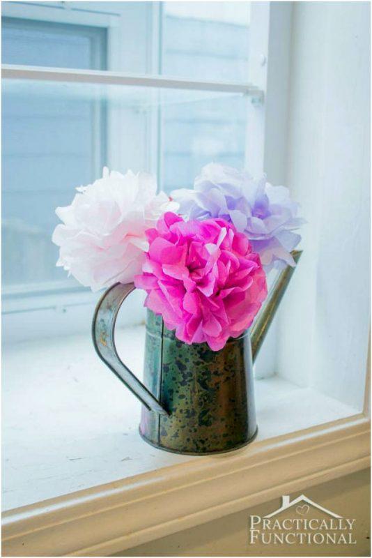 tissue paper flowers on windowsill