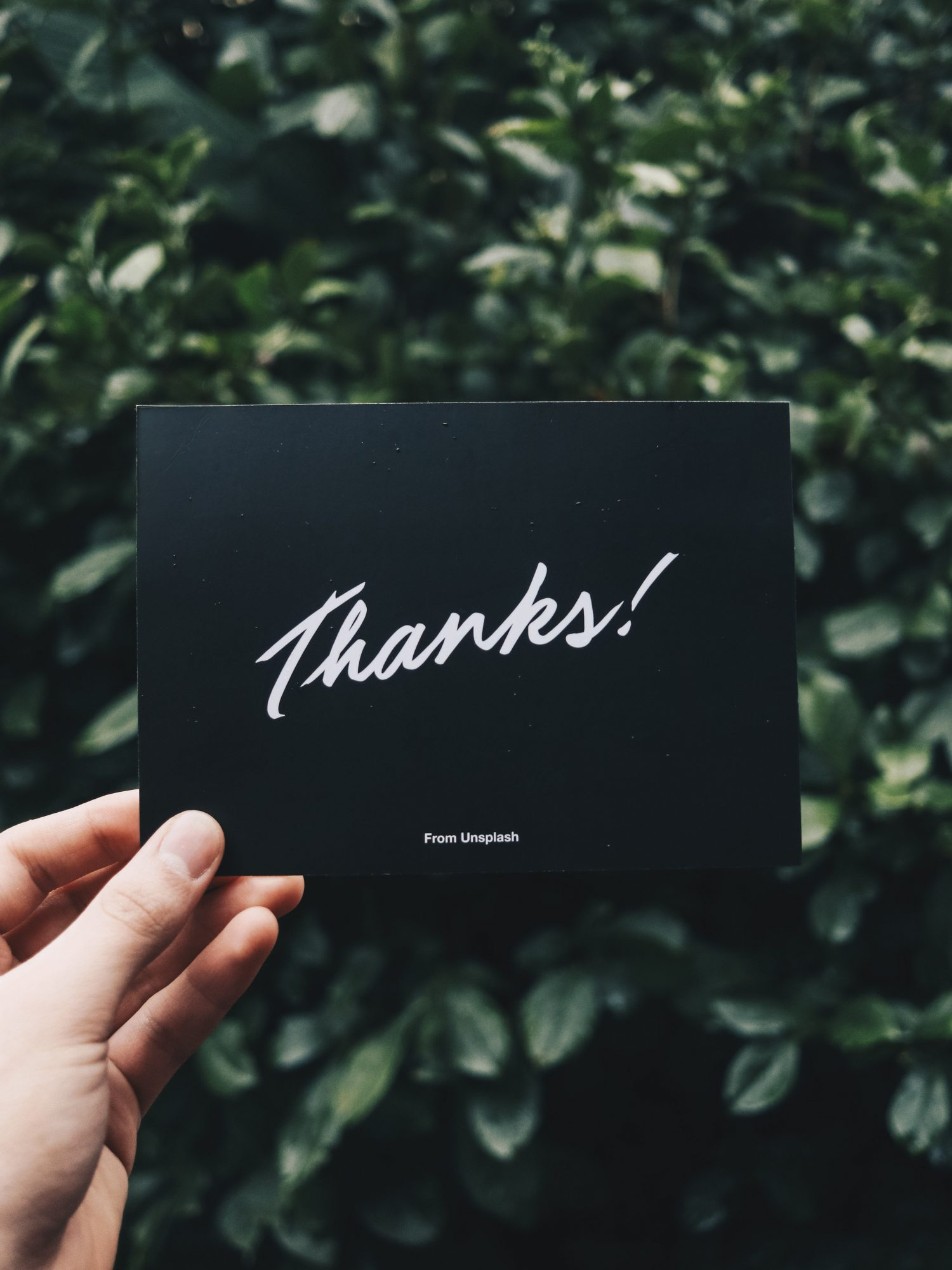 hand holding thankyou card