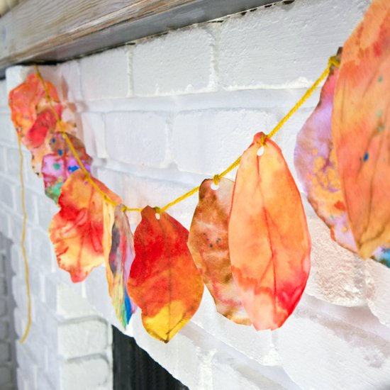 fall crafts for kids coffee filter leaf garland