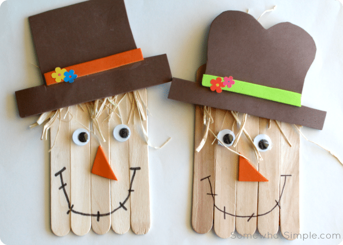 fall crafts for kids popsicle stick scarecrow crafts