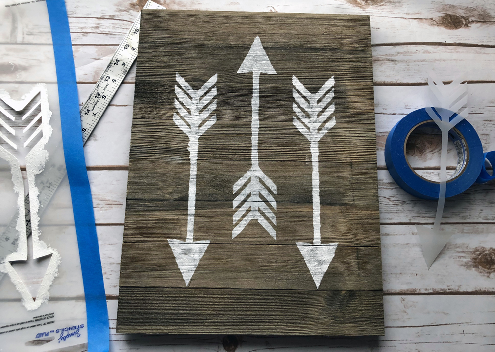 3 stenciled arrows