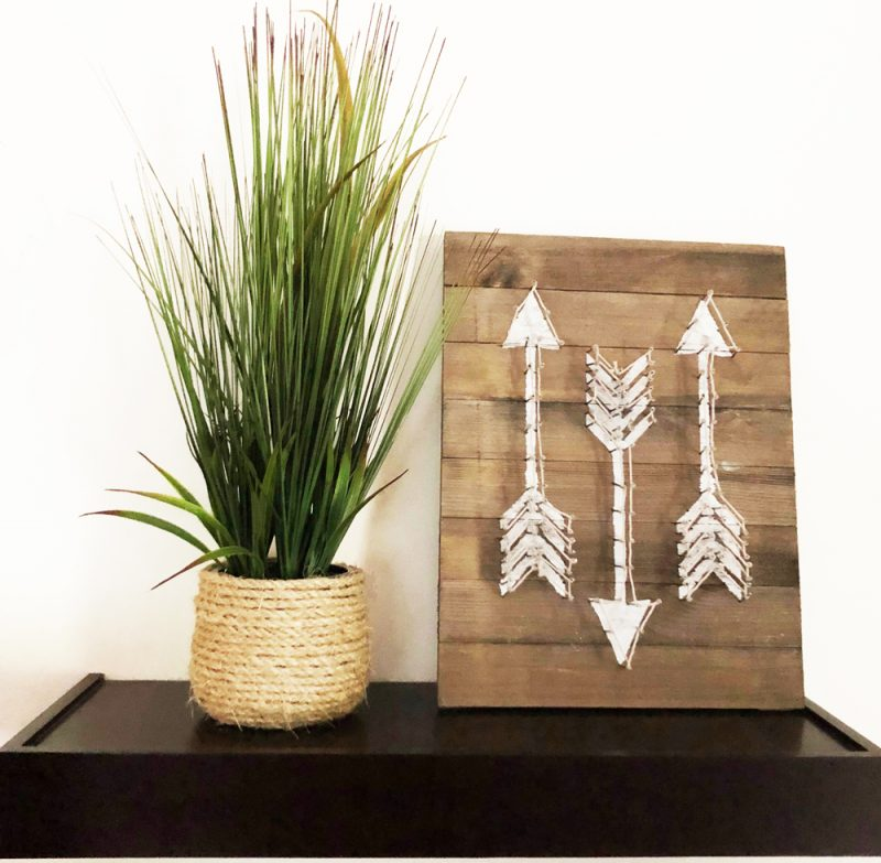 painted barnwood plaque with string art