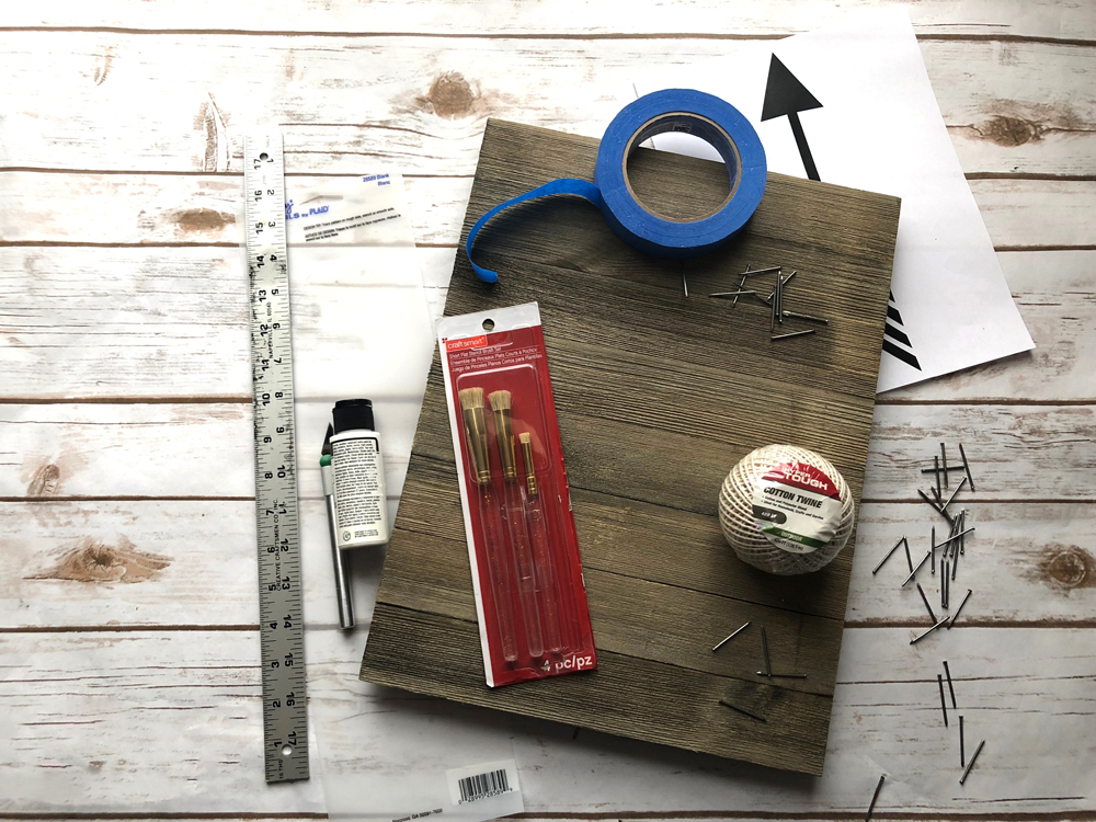 materials needed for string art plaque