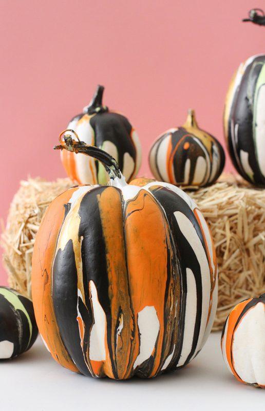 painted marble pumpkins