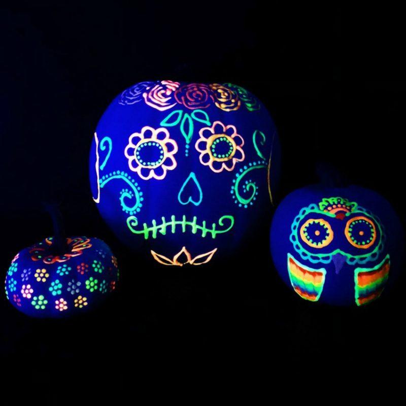 painted pumpkin ideas glow in the dark pumpkins