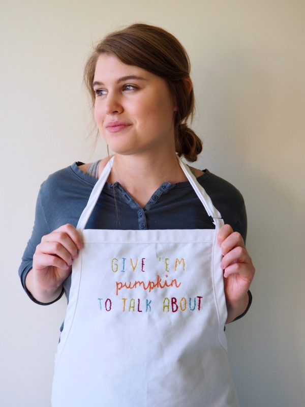 embroidered Thanksgiving apron