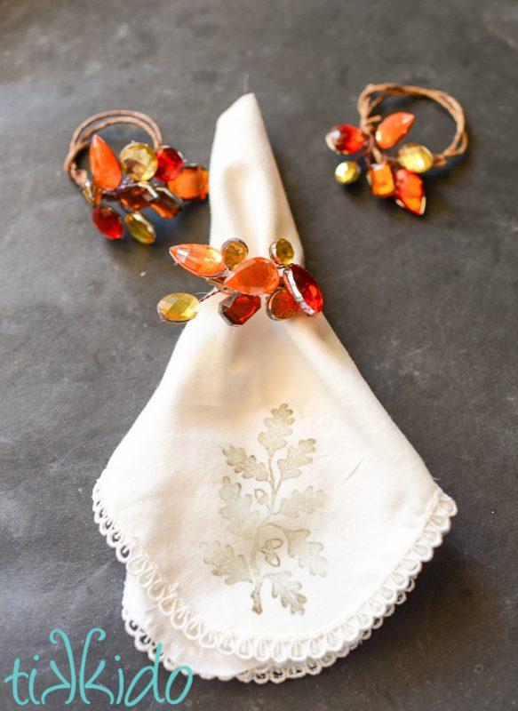 jeweled thanksgiving napkin ring