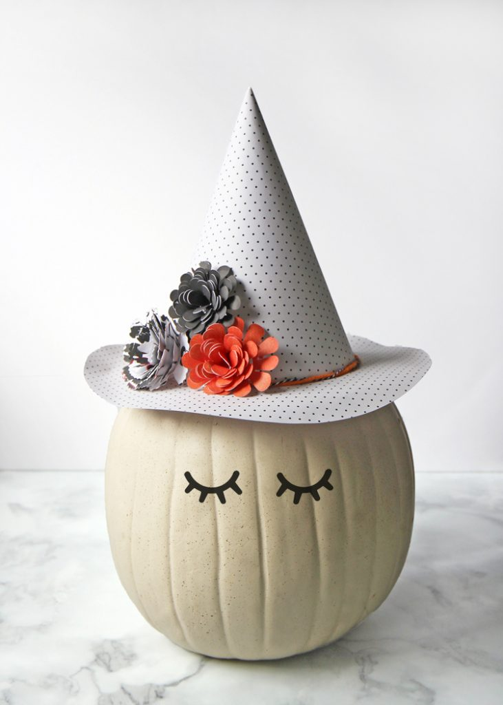 pumpkin with witch hat