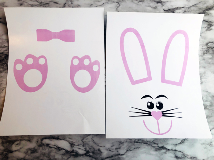 two printed pages with bunny template parts of Easter Bunny Lunch Bag