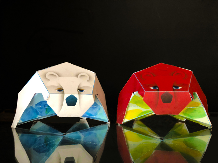 two 3d paper bears