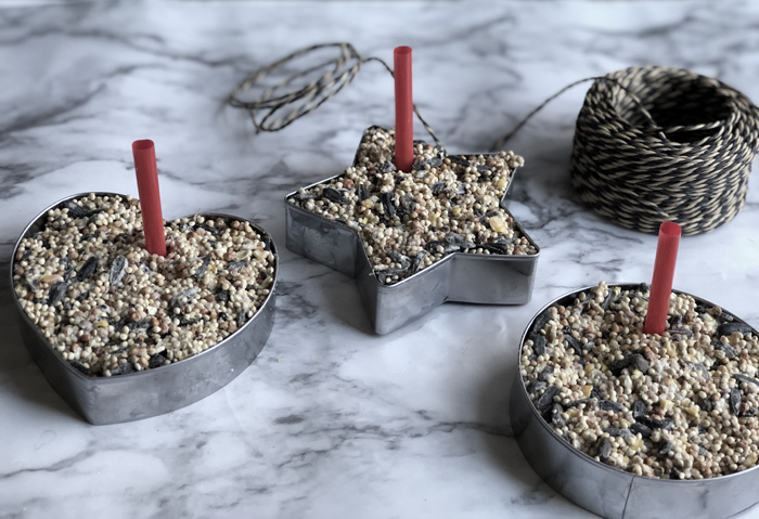 easy DIY birdseed ornaments in cookie cutters