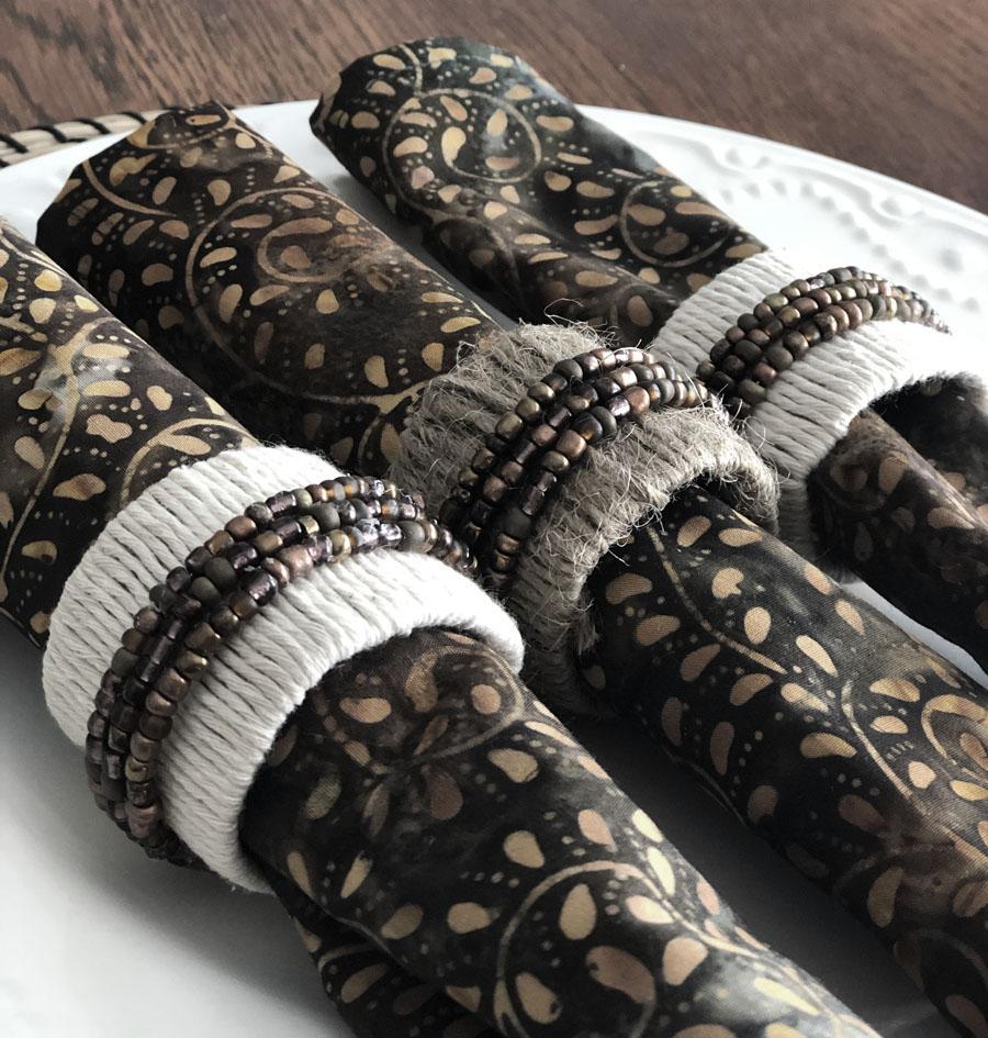 three boho style paper tube napkin rings