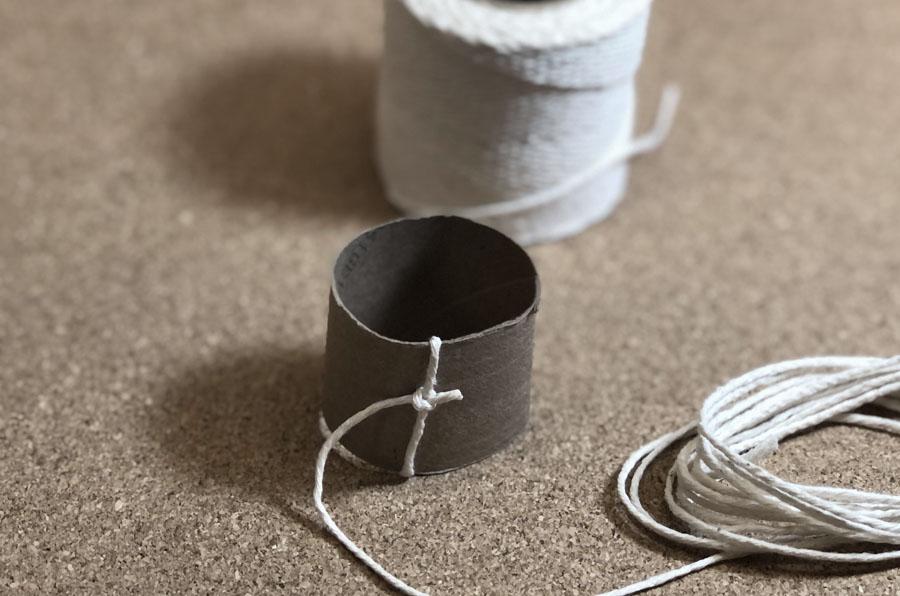 twine around paper tube napkin ring